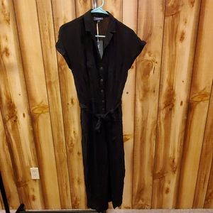 Modcloth Black Field WIth Joy Cropped Jumpsuit